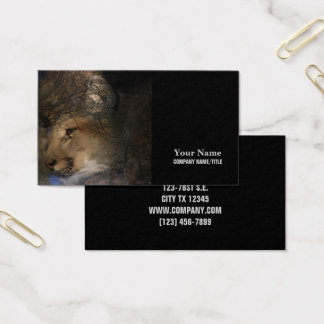 Autumn tree silhouette mountain lion wild cougar business card