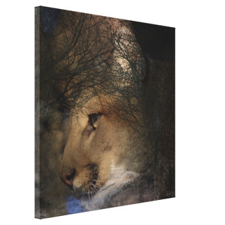 Autumn tree silhouette mountain lion wild cougar canvas print