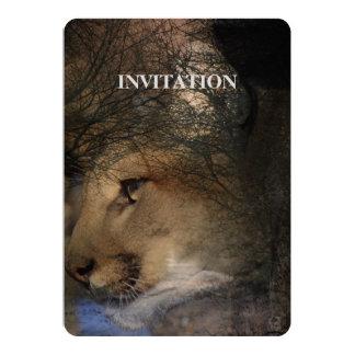 Autumn tree silhouette mountain lion wild cougar card