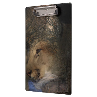 Autumn tree silhouette mountain lion wild cougar clipboard