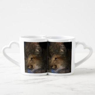 Autumn tree silhouette mountain lion wild cougar coffee mug set