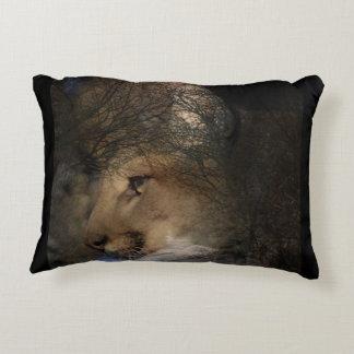 Autumn tree silhouette mountain lion wild cougar decorative pillow
