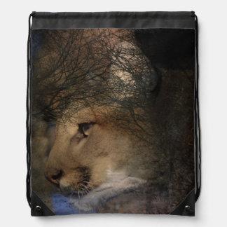 Autumn tree silhouette mountain lion wild cougar drawstring bag