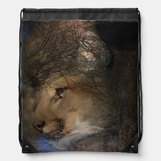Autumn tree silhouette mountain lion wild cougar drawstring bag