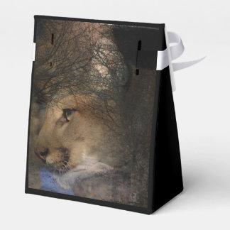 Autumn tree silhouette mountain lion wild cougar favor box