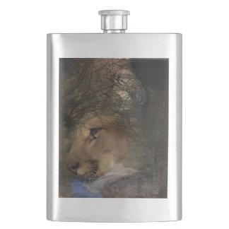 Autumn tree silhouette mountain lion wild cougar hip flask