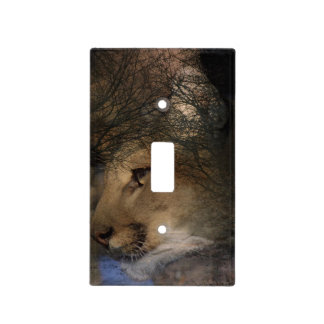 Autumn tree silhouette mountain lion wild cougar light switch cover