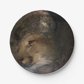 Autumn tree silhouette mountain lion wild cougar paper plate