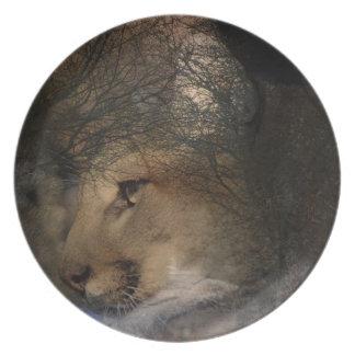 Autumn tree silhouette mountain lion wild cougar plate