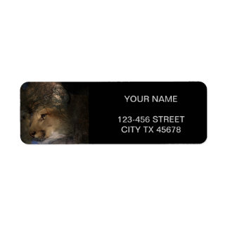 Autumn tree silhouette mountain lion wild cougar return address label