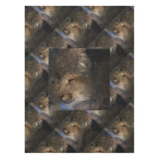 Autumn tree silhouette mountain lion wild cougar tablecloth