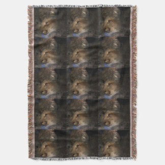 Autumn tree silhouette mountain lion wild cougar throw blanket