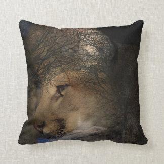 Autumn tree silhouette mountain lion wild cougar throw pillow