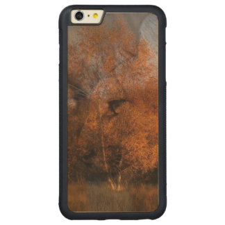 Autumn tree silhouette wildlife cougar carved maple iPhone 6 plus bumper case