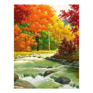 Autumn Trees By The River Custom Letterhead