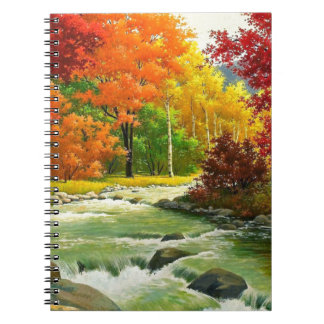 Autumn Trees By The River Spiral Notebook