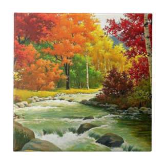Autumn Trees By The River Tile