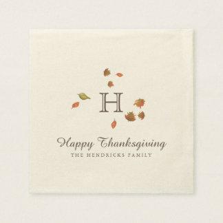 Autumn Trees Thanksgiving Monogram Disposable Napkin