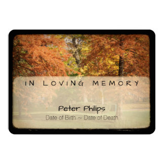 Autumn Trees Vintage Funeral Memorial Service Card