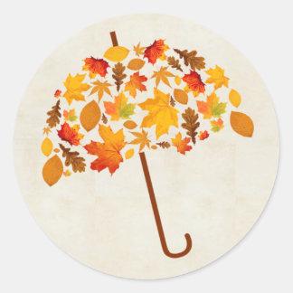 Autumn Umbrella with Leaves Classic Round Sticker