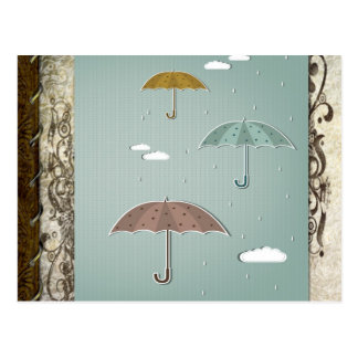 Autumn Umbrellas Postcard