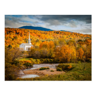 Autumn View Of The Community Church In Stowe Postcard