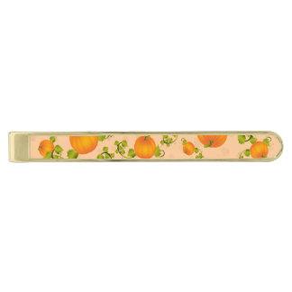 Autumn Vine Pumpkin with Customizable Text Gold Finish Tie Bar