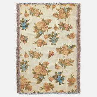 Autumn Vintage Rose Throw Blanket