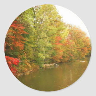 Autumn Water Landscape, Central Park Round Sticker