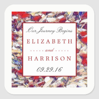 Autumn Watercolor Leaf Wedding Square Sticker