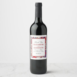 Autumn Watercolor Leaf Wedding Wine Label