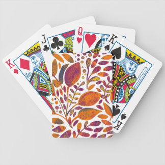 Autumn watercolor leaves bicycle playing cards