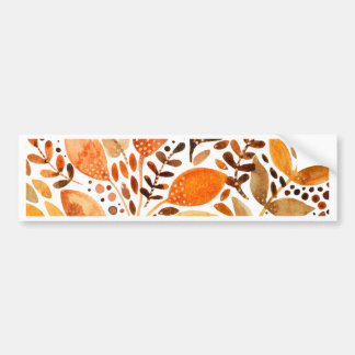 Autumn watercolor leaves bumper sticker