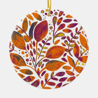 Autumn watercolor leaves ceramic ornament