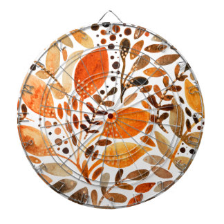Autumn watercolor leaves dartboard