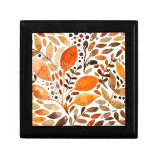 Autumn watercolor leaves gift box