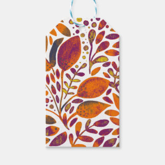 Autumn watercolor leaves gift tags
