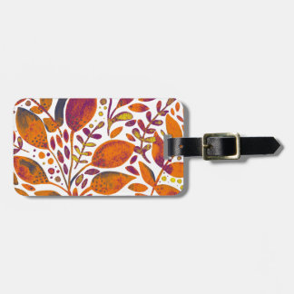 Autumn watercolor leaves luggage tag