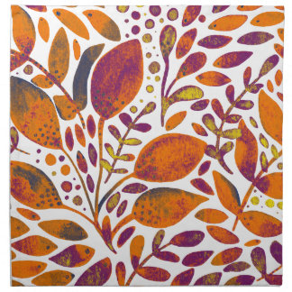 Autumn watercolor leaves napkin