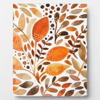 Autumn watercolor leaves plaque