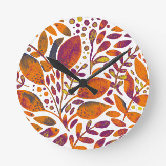 Autumn watercolor leaves round clock