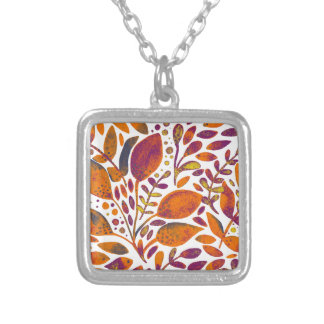 Autumn watercolor leaves silver plated necklace
