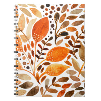 Autumn watercolor leaves spiral notebook