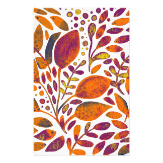 Autumn watercolor leaves stationery