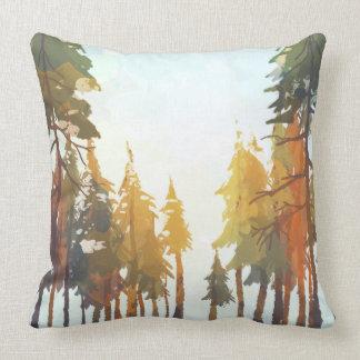 Autumn Watercolor Trees Throw Pillow