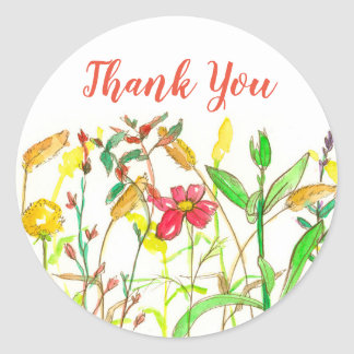Autumn Watercolor Wildflowers Thank You Classic Round Sticker