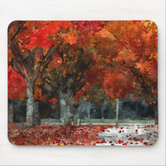Autumn Watercolor with Maple Trees in the Park Mouse Pad