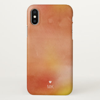 Autumn Watercolors - Monogram & Heart iPhone X Case
