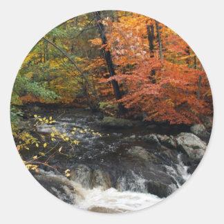 Autumn Waterfall Classic Round Sticker