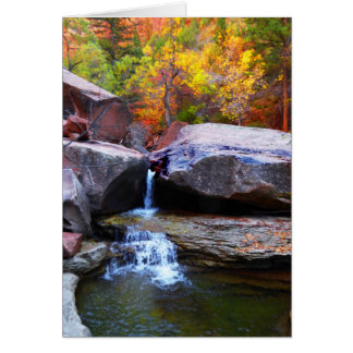 Autumn Waterfall, The Subway Zion NP, Blank Inside Card